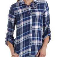 Lace-Back Plaid Button-Up Top by Charlotte Russe