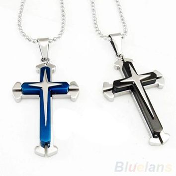 High Quality Blue Black Silver Stainless Steel Cross Pendant Men's Necklace Chain Accessories 02K9