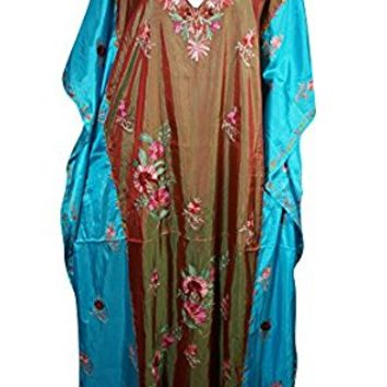 Mogul Womens Caftan Maxi Dresses Kashmiri Embroidered Aarika Shades Holiday Silk Kaftan