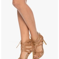 Tan All Stringed Up Laced Up Heels | $12.50 | Cheap Trendy Heels and Pumps Chic Discount Fashion fo