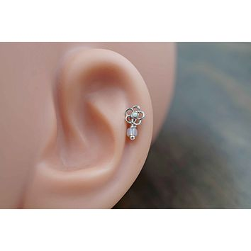 White Opal Flower Cartilage Earring Tragus Helix Piercing