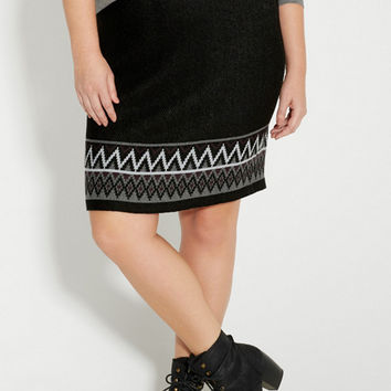 plus size sweater skirt with patterned border | maurices