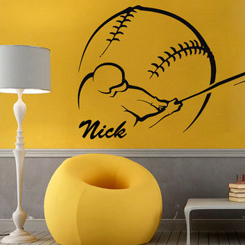 Baseball Wall Decals Man Personalized Name Sport Boy Sportsman Stickers Home Decor Vinyl Decal Sticker Kids Nursery Baby Room Decor KG648