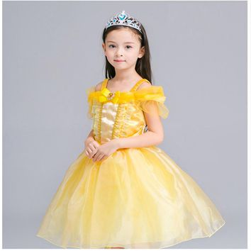 ILEEBAY Fairy Tale Beauty and The Beast Belle Princess Dresses Performance Dance Kids Costume Cosply Clothes Girls Evening Dress