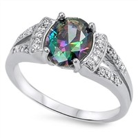 8mm Sterling Silver Oval Mystic Rainbow Topaz ring w/ Clear Cz accents