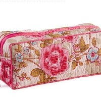 Quilted Cotton Clutch Make up Bag, Pink Beautiful with Plastic Lining