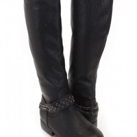 Black Faux Leather Chained Knee High Riding Boots
