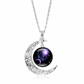 HOT SALE Crescent Moon Necklace 12 Constellation Art Glass Cabochon Pendant Fashion Jewelry Silver Chain Necklace Women Gifts