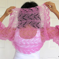 Pink Silk Shrug, Luxury kid mohair pink shrug, fine hand knit sweater with crochet edge