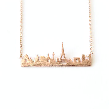 Cityscape Necklace- Paris / choose your color- gold, silver and pink, skyline necklace