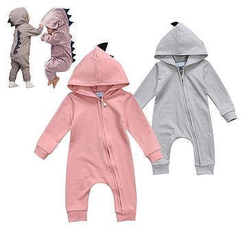 US Stock Newborn Baby Boy Girl Hooded Romper Bodysuit Jumpsuit Dinosaur Clothes