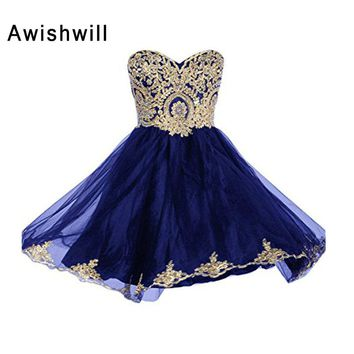 New Arrival Sweetheart Neckline Beaded Gold Lace Appliques Sleeveless Short Prom Dress Homecoming Dress Cheap Party Dress 2018