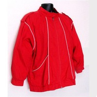 Vintage Bomber Jacket Retro Red 80s Size L by TheVintageDesignShop