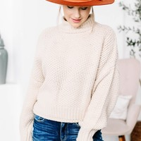 Taupe Knitted Turtleneck Sweater