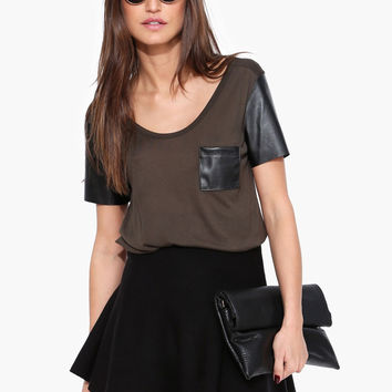 Casual Leather Sleeve T-shirt