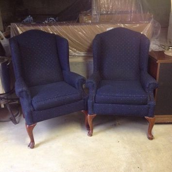 Winged-Back Arm Chairs