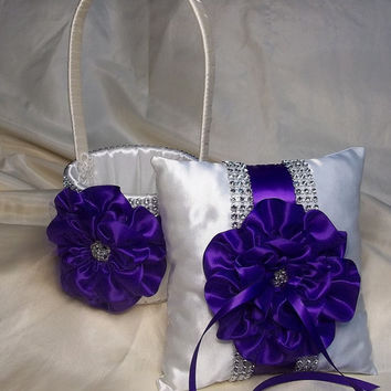 Ivory Flower Girl Basket and matching Ring Bearer Pillow with Royal Purple Satin Trim and Rhinestone Mesh Trim