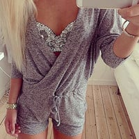 Gray V-Neck Drawstring Romper