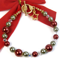 Red and Green Christmas Bracelet, Glass Pearls, Star Charm, Crystals