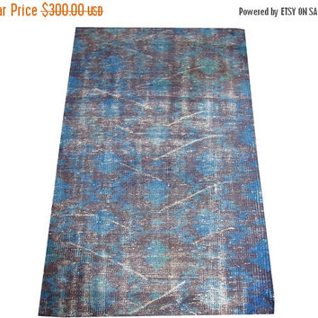 ON SALE Dark Blue Color Overdyed Handmade Rug  4'7'' x 2'11'' feet