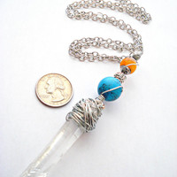 Quartz Necklace - Raw Quartz Necklace - Crystal Necklace - Wire Wrapped Pendant - Wire Wrapped Jewellery