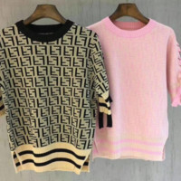 Fendi letter sleeves with a knitted blouse and a short sleeved ice cream T-shirt