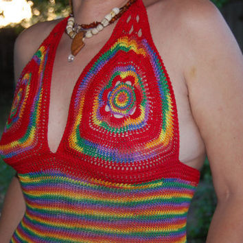 Size S Rainbow Gypsy Belly Dance India Goddess Pagan Tribal Beach Pool Party Crochet Halter Bikini Tank Top FREE SHIPPING