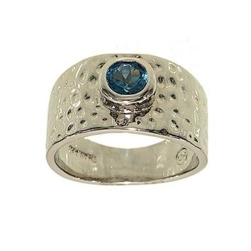 Rhodium Plated Contemporary Hammered Band Fashion Ring with Bezel Set Genuine Blue Zircon