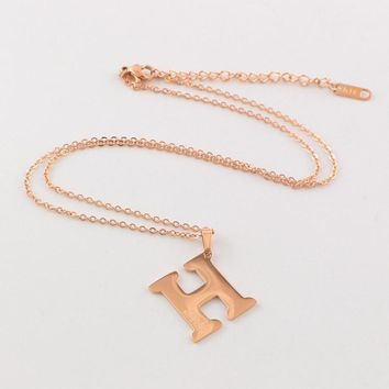 Hermes 2018 new wild H letter personality female necklace rose gold