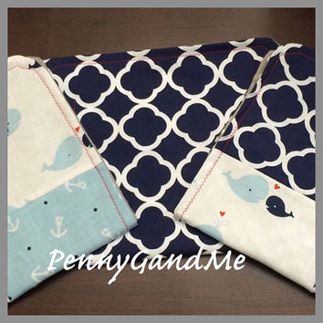 Personalized Whales and Anchors Burp Cloths ~ Anchor Burp Cloths ~ Nautical Burp Cloths ~ Patchwork Burp Cloths ~Set of 3