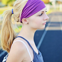 Workout Headband, Fushia Purple Headwrap, Running Headwrap, Extra Large Headband, Solid (Item 1208) X-Large