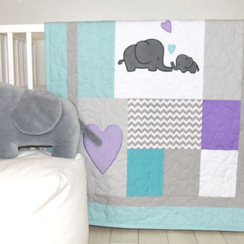 Elephant Baby Quilt, Teal Gray Purple Crib Bedding, Gray Chevron  Elephant Blanket, Grey Safari Nursery