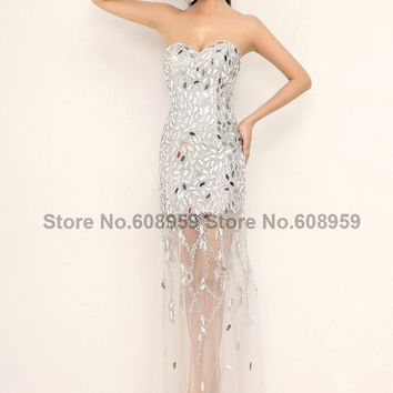 In Stock Sheer Crystals  Sweetheart Elegant Evening Dresses Women Long Beaded Sexy Prom Gowns 2017 Sequins New Real Sample XU012