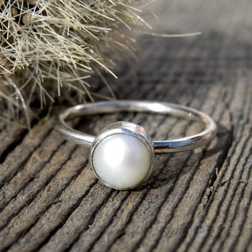 Pearl Ring ... June Birthstone Ring 6mm fresh water pearl sterling silver stacking ring Your Size