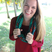 Plaid & Dot Infinity Scarf in Green