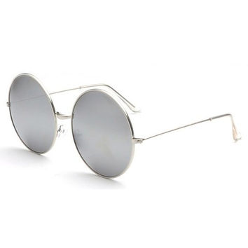 Big Rounded Frame Alloy Mirror Bracket Sunglasses