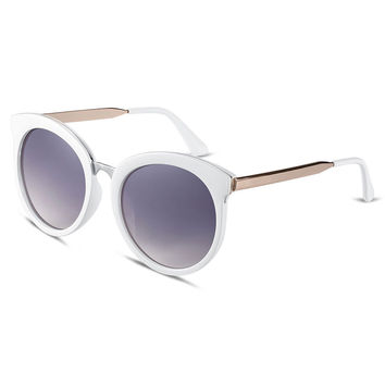 Gray Gradient Mirrored Round Sunglasses