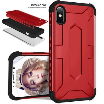 Luxury Hybrid Durable Shield Armor Rugged TPU+PC Silicone Shockproof Protective Back Phone Case Cover For iPhone X /Samsung Gala