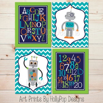 Baby boy nursery decor Nursery Art Prints Robot Nursery Wall Art Modern boy nursery wall decor Navy turquoise wall art ABC 123 prints #1361