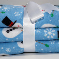 Flannel baby burp cloth snowman print set of three