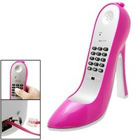 Amaranth Super High-Heel Stiletto Shoe Corded Telephone, Pink