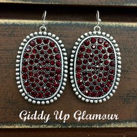 Silver Oval Earrings with Red Crystals