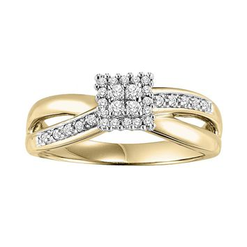 Cherish Always Round-Cut Diamond Cluster Engagement Ring in 10k Gold (1/5 ct. T.W.)