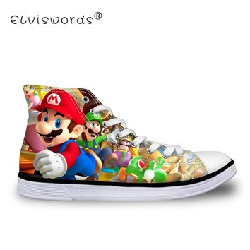 Super Mario party nes switch ELVISWORDS Cartoon  Print Women Canvas Shoes Student Girls Casual Walking Shoes Girls Ladies Lace-up Shoes Big Size AT_80_8