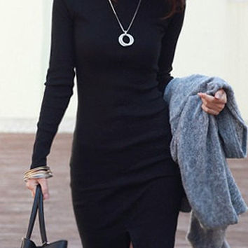 Black Turtleneck Long Sleeve Front Slit Sheath Dress