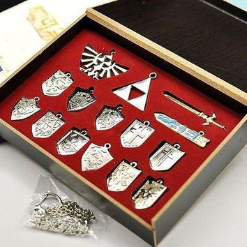The Legend of Zelda Skyward Sword Weapon and Shield Pendants keychains or Necklace Set Silver Color with Retail Box