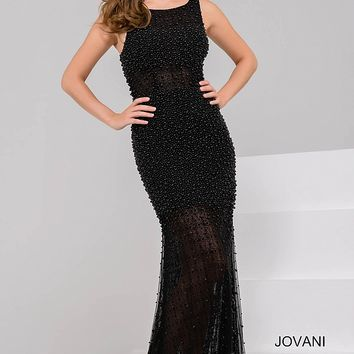 Black Beaded Sleeveless Mermaid Dress 50056