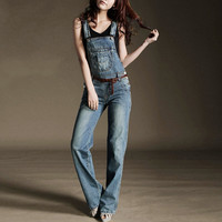Newly Denim Overalls Women Casual Mid Waist Suspender Trousers Loose Jeans Jumpsuits Breathable Straight Long Pants
