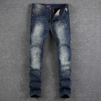 American High Street Fashion Mens Jeans Dark Blue Color Dirty Paint Ripped Jeans For Men Slim Fit Brand Jeans Pants
