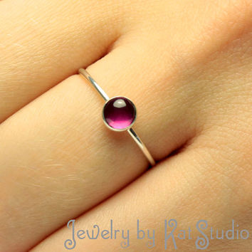 Ring with a Gem Stone - Ruby / Blue Sapphire / Pink Sapphire (You Can Choose) - Sterling Silver  925 - gift box